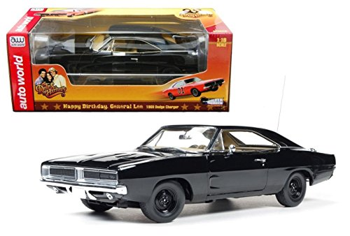 1969 Dodge Charger Black Happy Birthday General Lee 1/18 by Autoworld AWSS110 -