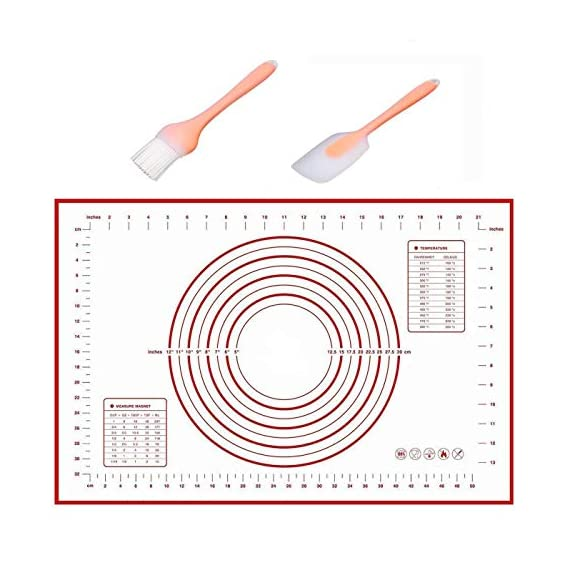 """Silicone Baking Mats Large 23.62"""" x 15.74"""", Non Skid Pastry-Mat with Measurements 1 Sticks very nicely to counter top or table. Does not move as you roll out the dough. Materials are stain-proof and stick-resistant: made of food-grade silcone with glass weave, no chemical odor. No need to guess on size anymore! Measurements are included for easy preparation."""