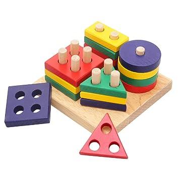 Kentop Geometrischer Stapler Farben und Formen Sortierbrett Stapel Steckspiel Kinder Sortierspielzeug Baby Sortierspiel Lernspielzeug f/ür Kinder