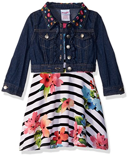 (Nannette Girls' Little 2 Piece Denim Jacket Dress Outfit Set, BLUD, 6X )