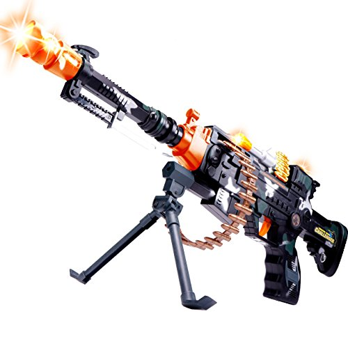 CifToys 22'' Rapid Fire Toy Machine Gun Realistic Toy Rifle Replica With Lights And Sounds For Army, Spy, Soldier, Assassin Game Play And Halloween Costumes