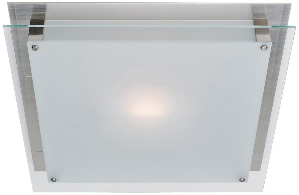 Access Lighting Vision 11.8'' LED Flush-Mount - Brushed Steel Finish with Frosted Glass Shade