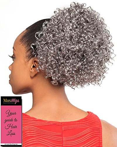 Search : DS005 Ponytail Color 1B - Foxy Silver Wigs Drawstring Curly Hairpiece Dome Short Synthetic African American Womens Bundle with MaxWigs Hairloss Booklet