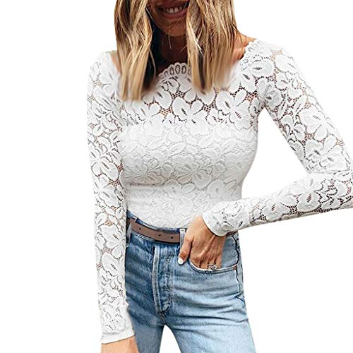 〓COOlCCI〓Women Off Shoulder Lace Top Sexy Floral Lace Blouse T-Shirt Long Sleeve Strapless Patchwork Lace Crop top Shirt White