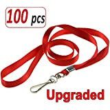 Aobear 100pcs 32 inch Top Quality red Lanyard for Badge Holders(Metal J-Hook)