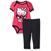 Hello Kitty Baby Girls' 2pc Top and Pant Set, Dark Pink, 0-3 Months