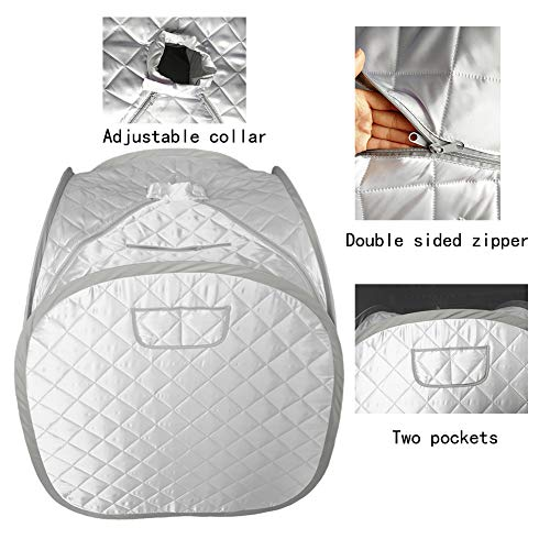 ZONEMEL Portable Steam Sauna, Lightweight Folding Tent, Personal Steam Sauna SPA for Weight Loss Detox Therapy, Steamer NOT Included-Sliver (Steamer Tent)