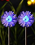 BRIGHT ZEAL Set of 2 LED Solar Garden Stake Lights with Vivid Life-Size Figurines (DANDELION) - Color Changing Solar Lights Outdoor - Solar Garden Lights Garden Decor - Outdoor Landscape Lighting