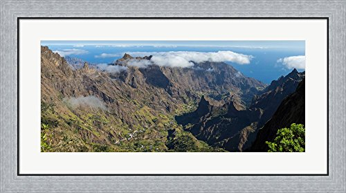Santo Antao Cape (High angle view of valley with mountains, Santo Antao, Cape Verde by Panoramic Images Framed Art Print Wall Picture, Flat Silver Frame, 36 x 20 inches)