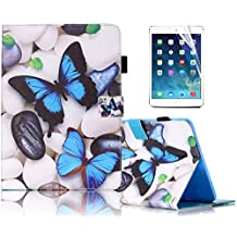 Samsung Galaxy Tab4 7.0 inch,T230 Case, Sunroyal PU Leather Flip Holder Protective Case Magnet Design Flip Wallet Case Samsung Galaxy Tab 4 7.0 SM-T230NU 7-Inch Tablet + Screen Protector,Blue Butterfly and Cobblestone