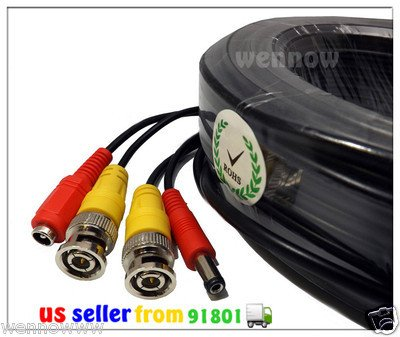 """Wennow """"BLACK 30 ft PREMIUM QUALITY PRE-MADE SECURITY CAMERA VIDEO POWER CABLE"""