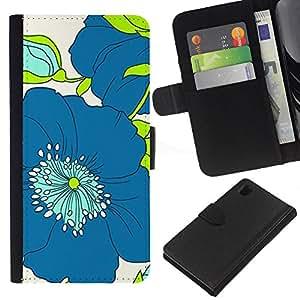 [Neutron-Star] Modelo colorido cuero de la carpeta del tirón del caso cubierta piel Holster Funda protecció Para Sony Xperia Z1 L39 [Modelo azul del verde del dibujo del arte]