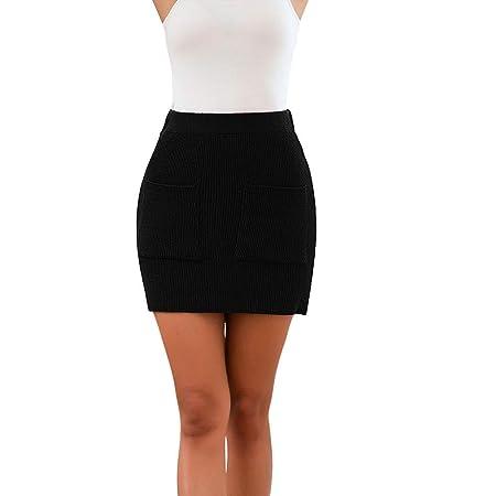 Lumon Mujer Faldas, Mujer Bolsillos Jersey Falda Corta Mini ...