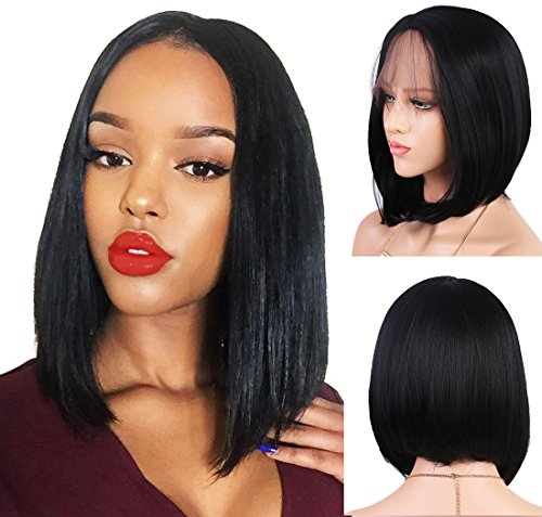 Andria Hair Bob Lace Front Wigs for Black Women Long Bob Synthetic Lace Wig Layered Straight Wig Heat Resistant Short Hair Wig (14 Inch # 1 B Color)