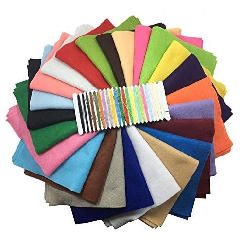 24pcs 20cm * 20cm (8 x 8 pouces) Feutre acrylique Tissu non tissé doux Diy Artisanat Travail Patchwork Couture Couleur mélangée, avoir une épaisseur de 1,4 mm