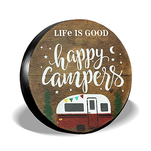 Spare Tire Cover Life Is Good Happy Camper Camping PVC Leather Waterproof Universal Wheel Tire Covers for Jeep Trailer RV SUV Truck Camper Travel Trailer Accessories (16 inch for diameter 29