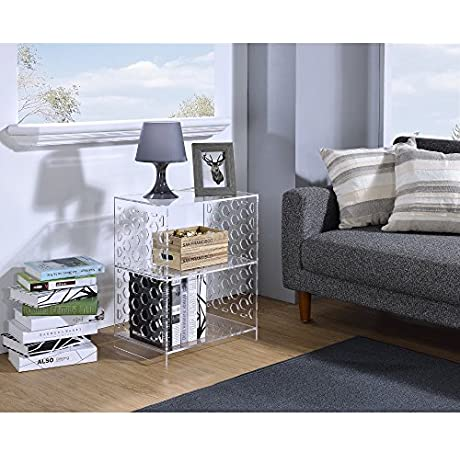 Fox Hill Trading Acrylic Honeycomb Design Side Table
