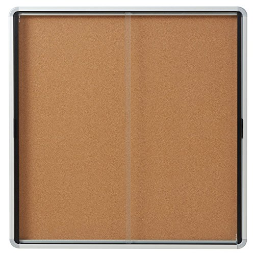 Quartet Enclosed Cork Bulletin Board, 38'' x 39'' or 12 Sheets, 2 Sliding Doors, Aluminum Frame (EISC3938) by Quartet