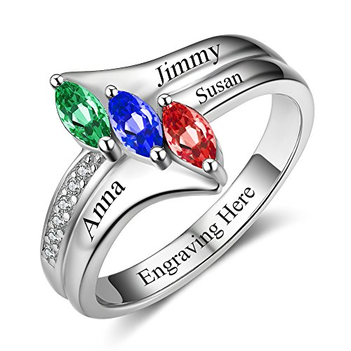 Lam Hub Fong Sterling Silver Mothers Rings with 3 Birthstones, Choose 3 Birthstones 3 Names and 1 Engraving Customized and Personalized BFF Ring