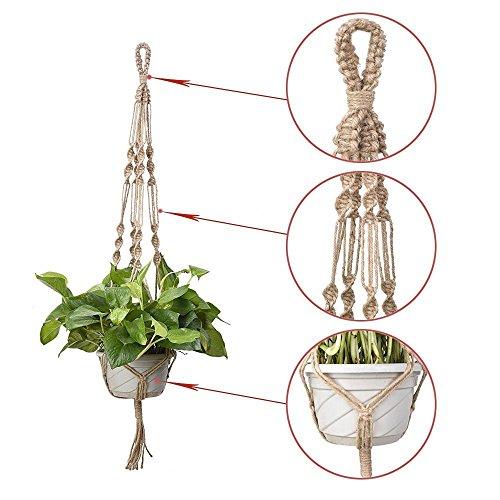 Peicees 4 Pack Plant Hanger Macrame Jute 4 Legs 35 5