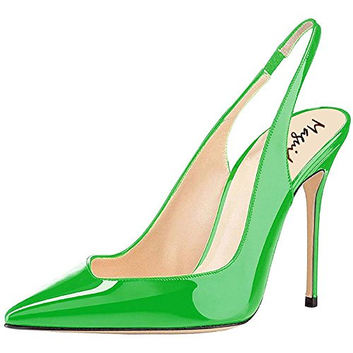 - Maguidern 4 inches high Heel Pumps,Patent Leather Pointy Toe Stilettos Heel Slingback Pumps Shoes Green Size 11