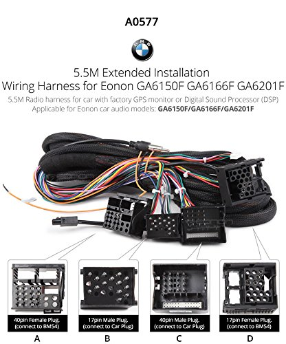eonon a0577 extended installation wiring harness for eonon product eonon a0577 extended installation wiring harness for eonon product bmw e46 e39 e53 wiring cable 17 pin 40 pin work eonon head unit