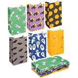 36-Pack Halloween Party Treat Bags - Recyclable Paper Goodie Bags - 6 Different Designs, 5.1 x 8.75 x 3.25 Inches