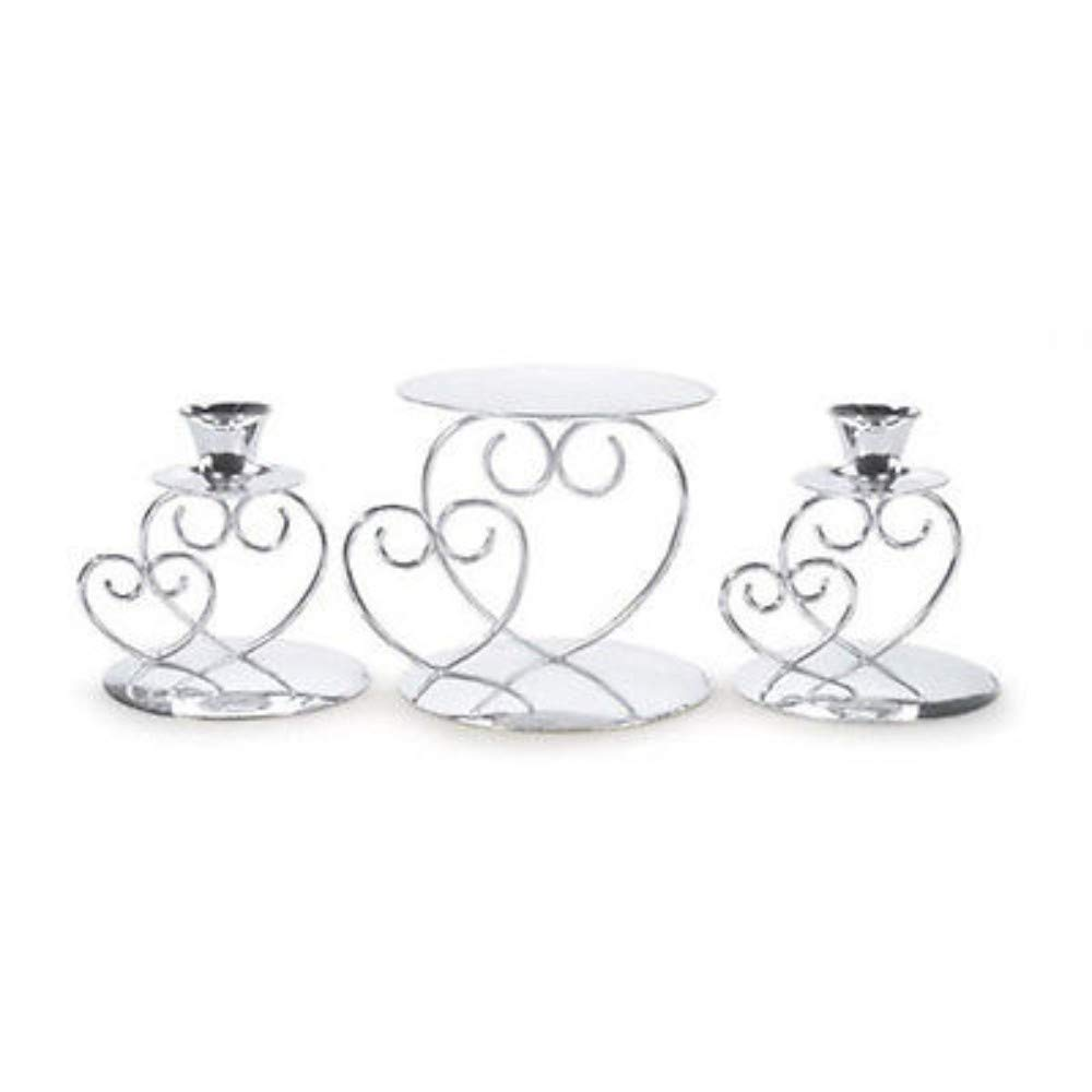 Double Silver Heart Unity Candle Holder Stand Set