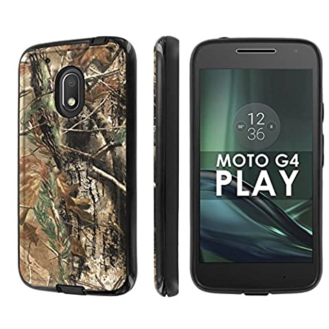 Motorola Moto G Play [4th Gen] Phone Case [NakedShield] [Black/Black] Dual Armor ShockProof Case - [Hunter Camouflage] for Moto [G4 (Motorola G Glass Covers)