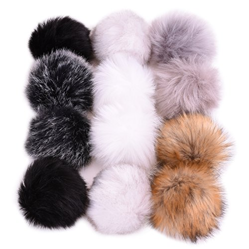 Pom Fur Real Pom (JINSEY 12pcs Faux Fox Fur Fluffy Pompom Ball For Hat Shoes Scarves Bag Charms)