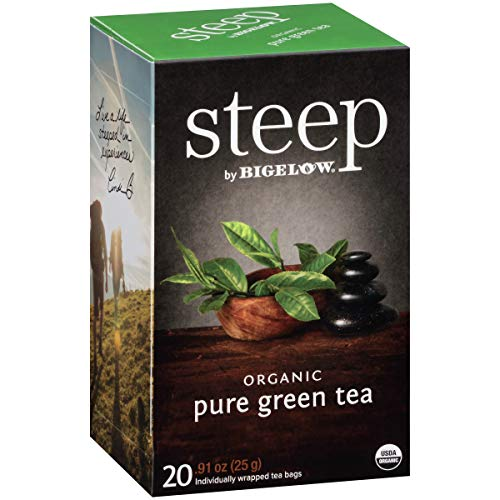 (Steep by Bigelow Organic Pure Green Tea 20 Count (Pack of 6), 120 Tea Bags Total. Organic Caffeinated Individual Green Tea Bags, for Hot Tea or Iced Tea, Drink Plain or Sweetened with Honey or Sugar)