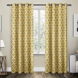Exclusive Home Neptune Cotton Window Curtain Panel Pair with Grommet Top 54x96 Sundress Yellow 2 Piece