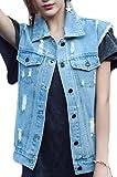 M&S&W Women Business Plus Size Cotton Button up Sleeveless Denim Jean Vest Jacket Light Blue XS