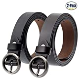 ANDY GRADE Set of 2 Women's Cowhide Leather Belt Ladies Vintage Casual Belts for Jeans Shorts Pants Summer Dress for Women With Alloy Pin Round Buckle By (Black and Brown)
