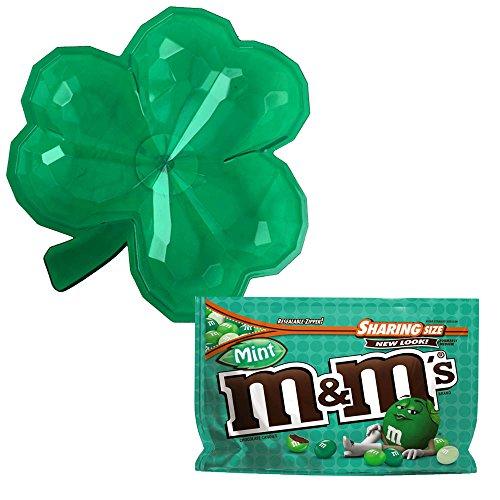 St Patricks Day Irish Lover's Shamrock Candy Dish with Dark Chocolate Mint M&Ms (Shamrock Mint)