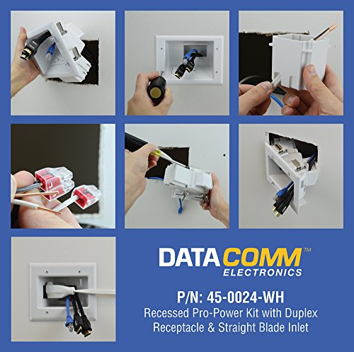 DataComm Electronics 45-0024-WH Recessed Pro-Power Kit with Duplex Receptacle and Straight Blade Inlet Photo #7