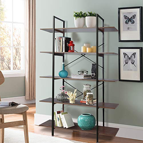 Cocoarm 5-Tier Vintage Industrial Rustic Bookshelf, Wall Mountable Bookcase in Wood and Metal, Ladder Shelf for Living Room or Office, Organizer Storage Bookshelf