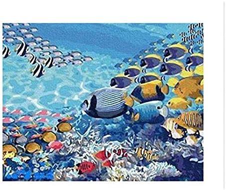 Dipingere con i Numeri Pittura su Tela per Adulti e Bambini con Colori acrilici e 3 spazzole barriera corallina