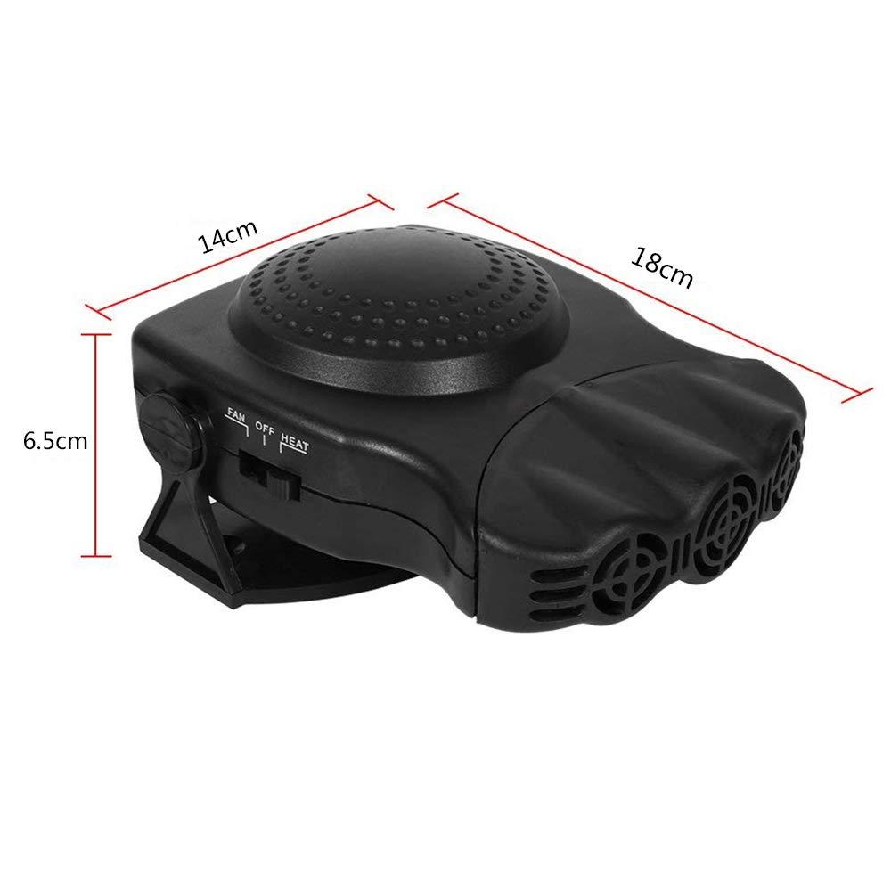 ORPERSIST Calentador Portátil 12V, 2 En 1 Ventilador Calefactor Defroster Demister 150W, Negro/Rojo,Black: Amazon.es: Hogar