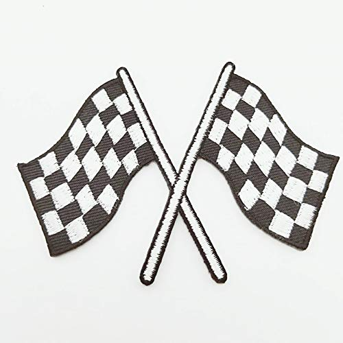 Checkered Patch Flag Iron Auto Car Racing Embroidered Applique Sew Rockabilly Flags Patches 3 Crossed Race Biker White For Clothing shirt, cap, jeans, pants, bag, vest, Jacket, Embroidered Applique mo