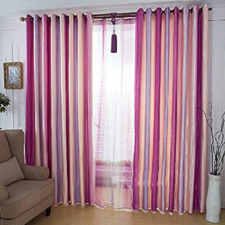 Rainbow Stripes Window Screen Full Blackout Curtains / Living Room ...