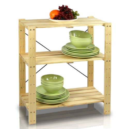 Furinno FNCJ-33013 Pine Solid Wood 3-Tier Shelf