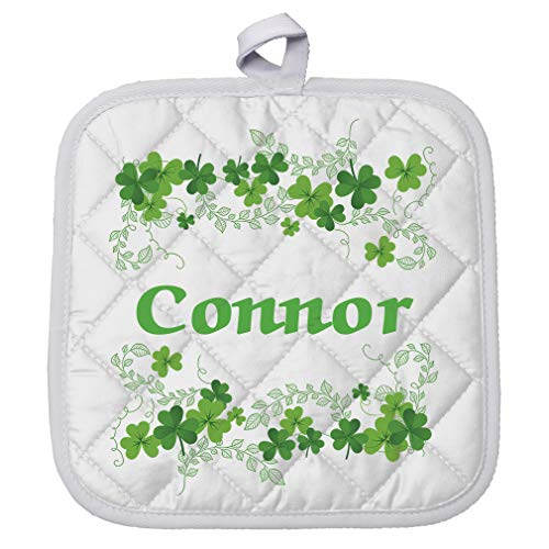 Personalized Custom Text Irish Clovers Name Ireland Polyester Pot Holder