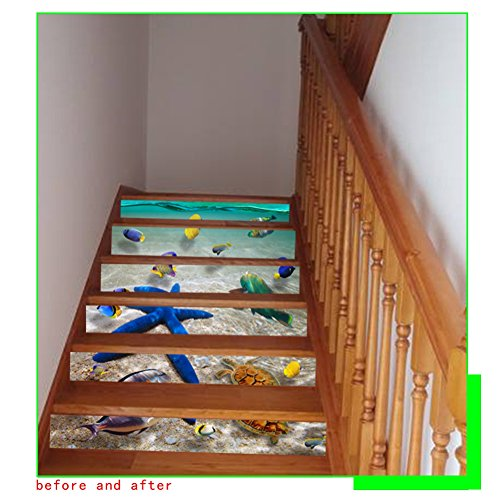 Wingbind Stairs Sticker,3D The Underwater World Starfish Dolphin Pattern Print Vinyl,Home Cafe Bar Stair Tile Decoration 6pcs