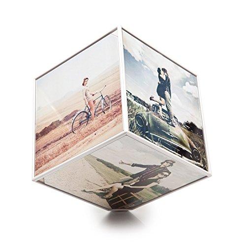 Balvi Kube Cadre-Photo Rotatif pour 6 Images 10 x 10 1 Pile AA Non Incluse