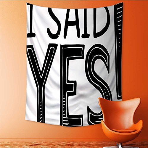 SOCOMIMI Print Decorative Throw Fabric Tapestry Wall Hanging I Said Yes Striped Letters Black and White Art Decor for Bedroom 59L x 80W Inches -