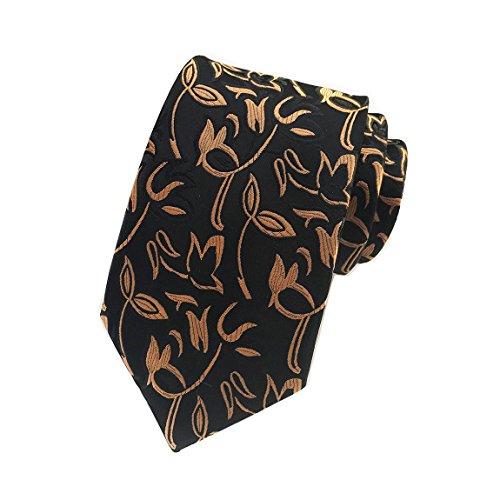 MENDENG Gold Blue Mens Floral Paisley Ties Silk Jacquard Woven Suits Tie - Tie Bit 8 Bow