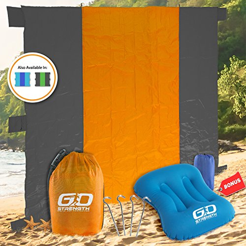 Nylon Ripstop Water (Outdoor Beach Blanket 10'X9' Water & Sand Resistant Made From Ripstop Nylon, Combine 4 Sand Pocket With 4 Stakes and 3 BONUS: Beach Pillow & Ebook for the Pillow & Secret Pocket for Your Belongings)