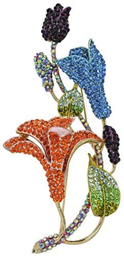 Gyn&Joy Classic Colorful Crystal Rhinestone Large Flower 5'' Calla Lilies Brooch Pin BZ081 by Gyn&Joy (Image #6)