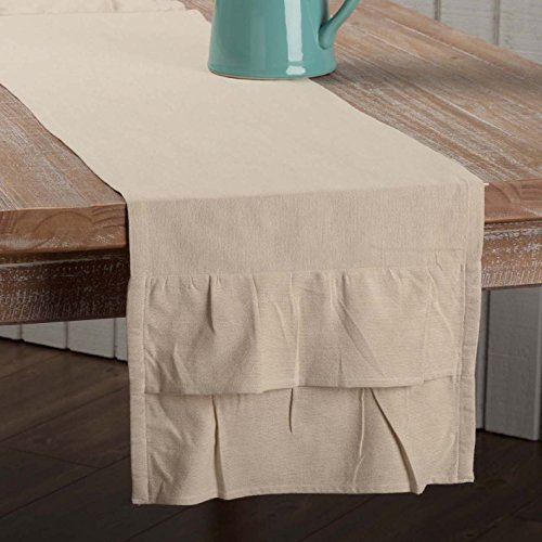 "Piper Classics Ruffled Chambray Natural Runner, 13"" x 60"", Farmhouse Style Table Runner"